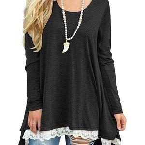 Women's Lace Long Sleeve Tunic Top Blouse